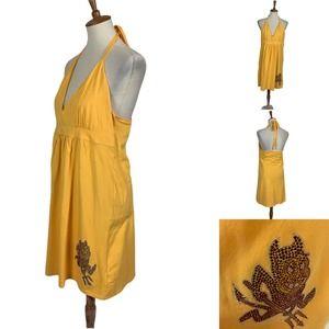 ASU Sundevil w Sequin Sparky Halter Dress Yellow